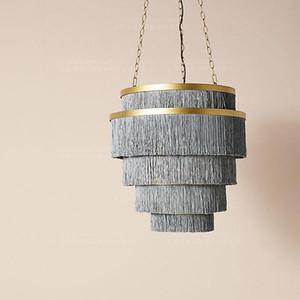 Large Grey loft chandelier lighting fringe cotton hanging light nordic home decor lighting bedroom kitchen foyer restaurant lamp