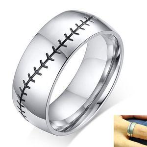 Baseball Stitch Ring per gli uomini lucida Stainless Steel Band Casual Male Anel Gym Sport Accessorio
