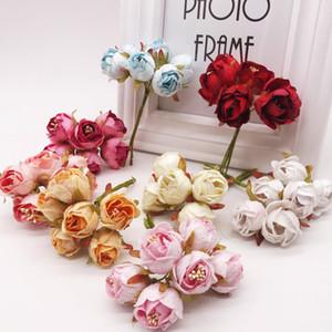 120PCS البسيطة روز الحرير الاصطناعي الزهور باقة مناسبات الزفاف زهرة ورقة لسكرابوكينغ اليدويه زهرة اليدوية الكرة 6PCS / LOT