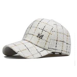 La nouvelle norme automne et l'hiver M extérieur mâle fil d'or à la mode et une casquette de baseball à carreaux de la mode féminine