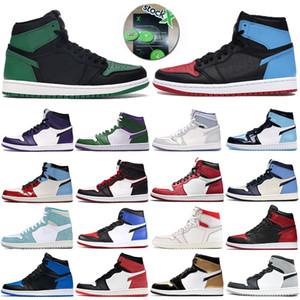 Jumpman 1s Männer Basketball-Schuhe unglaubliche Hulk Obsidian UNC Designer Herren Trainer 1 High tannengrün schwarz Blutlinie Gebannt Sport-Turnschuhe