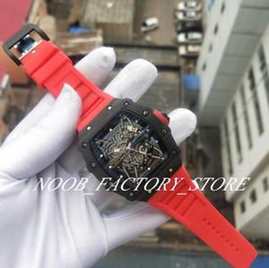 Luxo Super Fábrica de Fibra de Carbono Caso RM35-02 AL Dial borracha vermelha Correia Movimento automático Transparente Voltar originais fecho Men Watch Watches