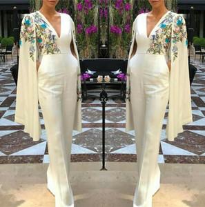 Eleganter V-Ausschnitt Lange Abendkleider Hose Anzüge Capped Stickerei Bodendarlänge Prom Party Gowns Jumpsuit Celebrity Dresses