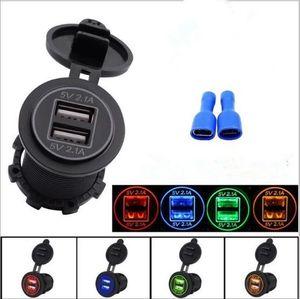 Waterproof 12-24V USB Charger para a motocicleta Auto Truck ATV Boat LED Car 4.2A Dual USB tomada do carregador Power Adapter Power Outlet Car-Charger