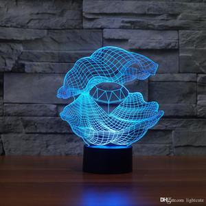 Illusione Clam Pearl 3D Notte Light Touch 7 cambiamento di colore della lampada regalo Home Decor neonata Boy LED bambini regali di Natale Natale