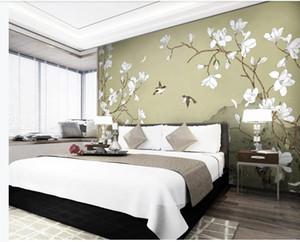 아름다운 풍경은 새로운 중국 스타일의 손으로 그린 꽃과 새 목련 배경 벽 장식 그림을 배경 화면