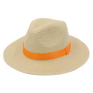 Unisex Plastica Straw Chapeau partito primavera-estate Beach Outdoor Via Sunhat largo Floppy Brim Cap Panama Lover cappello a cilindro con Cotton Belt Banda