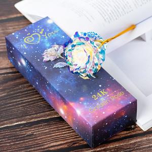 Regalo del día de San Valentín de la hoja de boda romántico de la flor 24K Oro Hermosa luminoso LED Galaxy Rosa Flor decoración del hogar