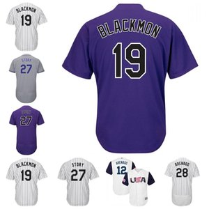 28 Nolan Arenado 12 CMB 19 Charlie Blackmon 27 Trevor Historia 17 Todd Helton de Colorado jerseys del béisbol cosido