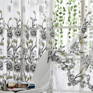 Home Office Window Curtain Flower Stampa Divisorio Tulle Voile Drape Panel Sheer Scarf Valances Tende Home Decor
