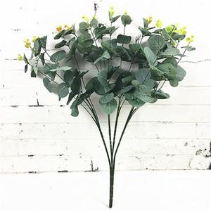 Ramo de eucalipto de 16 cabezas Ramas de los árboles Hojas artificiales de seda Decoración del hogar DIY Arreglo de flores Planta Falsa corona de follaje