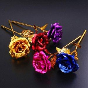 Regalos de la flor para el amante de la boda de San Valentín Día de la Madre del partido decoración del hogar de emulación de la hoja de oro 24k plateado artificial de Rose de tallo largo