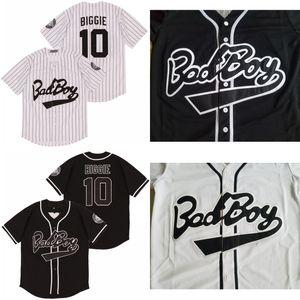 Biggie Smalls 10 Bad Boy Beyaz Beyzbol Jersey Yama Beyaz Siyah Moda Çift Dikişli Yüksek Kalite dahildir