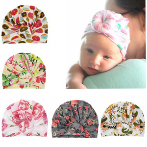 Baby cap Knot kids Hat Flower Pattern Kids Girl Turbans Newborn Beanie Caps children Photography Props accessories Scarf hats