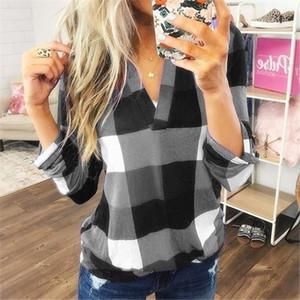 Blusas nueva primavera y el otoño de la manera camisa de tela escocesa de impresión V-cuello 2020 de las mujeres de algodón de manga camiseta de gran tamaño S-5XL larga al por mayor