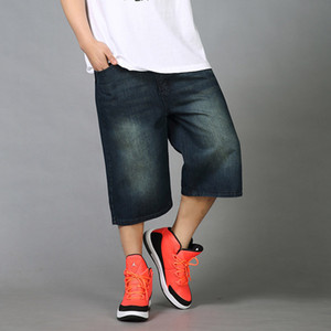 Mens Estate Hip Hop Jeans larghi Shorts allentato diritto adatto shorts in denim 3/4 Nero Blu Pantaloni corti Uomini Plus Size