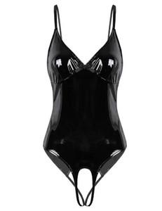 Donna Lingerie Corpo calza Femminile Cavallo aperto Wetlook Costumi Cinturini in pelle verniciata Crotchless Sissy Clubwear Body
