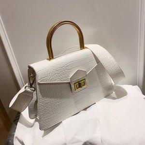 Wide Totes Shoulder Bag With Handle 2020 Strap Quality PU Leather Women's Handbag Messenger Pattern Metal Shoulder Crocodile New Rapul