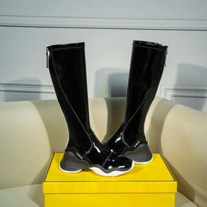 Nuevo diseñador de las mujeres de alto de rodilla deportivas Botas Marca señoras botines de calidad superior del cuero auténtico patente de Martin botas de invierno Alto zapatos 35-40