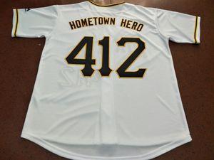 raro Mens Pittsburgh Hometown hero # 412 Jersey de béisbol Tamaño S-4XL o personalizado cualquier nombre o número Jersey de béisbol cosido