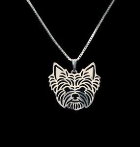 Venta al por mayor Yorkshire Terrier Collar 3D Cut Out Puppy Dog Lover Colgante Memorial Collares Colgantes de Regalo de Navidad