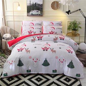 Noel Yatak Nevresim Y200111 keten 2 / 3pcs Karikatür Nevresim Seti Noel Baba Tek / Queen / King Size Yatak ayarlar