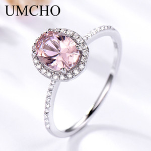 Umcho 925 Anello in argento sterling ovale classico rosa Morganite Anelli per le donne Fidanzamento Gemstone Wedding Band Fine Jewelry regalo T190701