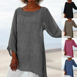 2019 Camicia a maniche lunghe da donna casual in cotone e lino casual con maniche larghe