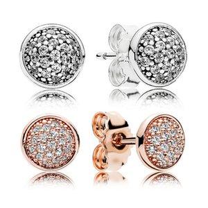Kadınlar Moda aksesuarları toptan için Pandora 925 Gümüş Kristal cz döşemek Küpe Set için Otantik 925 Gümüş Stud Küpe Orijinal kutusu