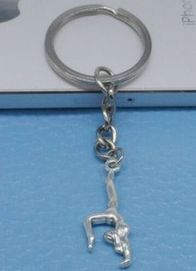 20pcs lot Key Ring Keychain Jewelry Silver Plated Gymnastics Sporter Charms For Jewelry Making