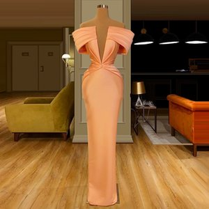 Elegant Deep V Neck Mermaid Evening Dresses Floor-Length Prom Dress Celebrity Middle East Plus Size 2020 Dubai Party Gowns