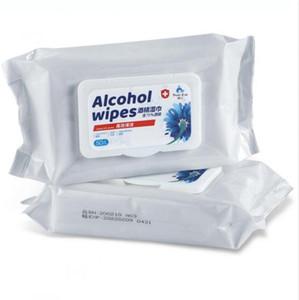 75% di alcol Salviette 50Pcs / Bag di disinfezione a gettare di mano salviette detergenti batuffolo imbevuto di alcool portatile braccio disinfezione Dipes