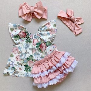 3pcs Baby Girl Clothes sets Floral Printed Sleeve Top Lace Patchwork Ruffle PP Shorts Headband Outfit Girl Summer Clothing