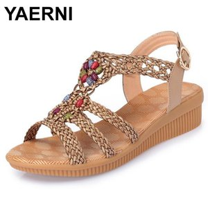 YAERNI 2020Ethnic mulheres sandálias sandálias de verão tecida mulheres respirável cunha zapatos mujer tamanho 35-42E969