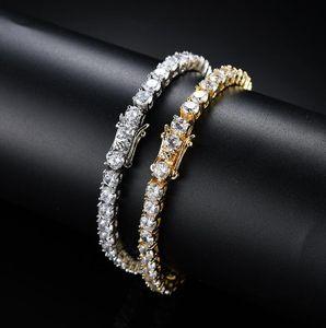 Tennis Kette 3mm 4mm 5mm 18K Gold-Silber-Kupfer-Mikro Intarsien Zirkon einreihiger Armband Hip-Hop-Rap-Herren-Schmuck Zubehör