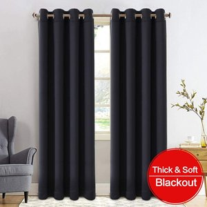 Thicken Blackout Curtain for Bedroom Triple Weave Treatment Thermal Insulated Solid Grommet Window Blackout Drapes for Living Room Bathroom