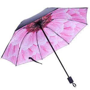Venta caliente Paraguas de lluvia de tres pliegues Mujer Impresión de flores Paraguas de revestimiento de sombreado negro Paraguas de moda femenina Anti UV