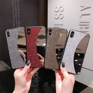 Make Up Mirror Cases Bling Glitter Shiny Phone Back Cases Rhinestone Covers for iPhone 11 Pro Max Xs Max 7 8 Plus