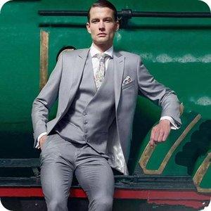 Hellgrau Männer Anzüge Hochzeit Smokings Formal Geschäfts BräutigamGroomsman Anzug Western-Art-Spitze Revers Kleidung Blazer (Jacken + Vest + Pants)