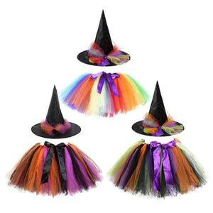 Halloween-Kostüm-Rock-Regenbogen-Farb Hexe Anzug Kinder Aufführung Kleid + Hut Festival-Aktivitäten spielen Tutu Rainbow Color