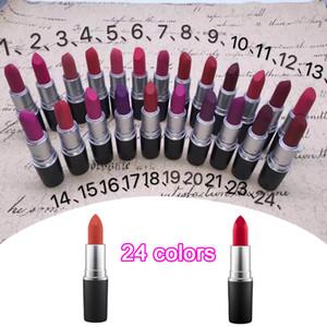 2019 NOVO fosco batom M maquiagem Luster Retro Batons Geada Sexy Matte Batons 3g 25 cores batons com Nome Inglês