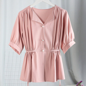 Real Picture France V-neck Single-breasted Pleated Women Tops Blouses Summer Chiffon 2020 New Elegant Batwing Sleeve Clothing