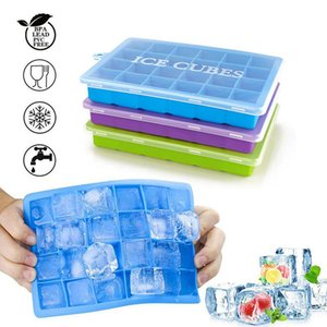 Silicone Ice Tray with Lid 24 Grids Food Grade Silicone Small Fruits Ice Cream Maker Mold for Kitchen Bar Drinking Ice Cube Making