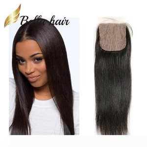 Bella Hair?4*4 Silk Base Closure 100% Peruvian Virgin Human Hair Extension Top Closure 10~20 Virgin Human Hair Natural Color Silky Straight