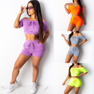Летние женские топы + шорты эластичный спортивный костюм йога спортивные тренировки комплект одежды 2шт