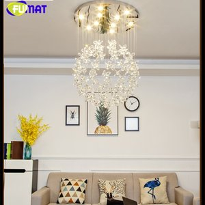 FUMAT Crystal Clear K9 Ceiling Lamps Flower Ball Stairway Modern Villa Chandelier Lighting Hanging Fixture Mall GU10 LED Lights