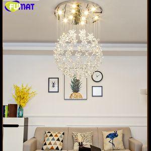 FUMAT Crystal Clear K9 Tavan Lambaları Çiçek Topu Merdiven Modern Villa Avize Aydınlatma Asılı Fikstür Merkezi GU10 LED Işıkları