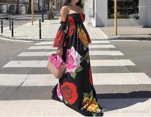 Robes sexy vacances élastique Femmes robe longue d'été Mode Casual Asymétrique Vêtements pour femmes Flora imprimé bretelles