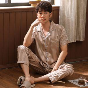 100% reiner Seide Herren Pyjama Set Kurzarm Nachtwäsche Nachthemd L XL 2XL 3XL Pyjamas