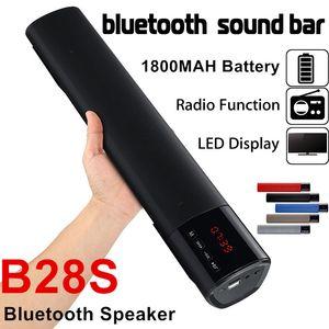 B28S Speaker 10W HIFI LED Bluetooth Sound Bar Speakers Soundbar TF FM USB Clock Wireless 3D Subwoofer Column 1800Mah Battery Speaker B28S